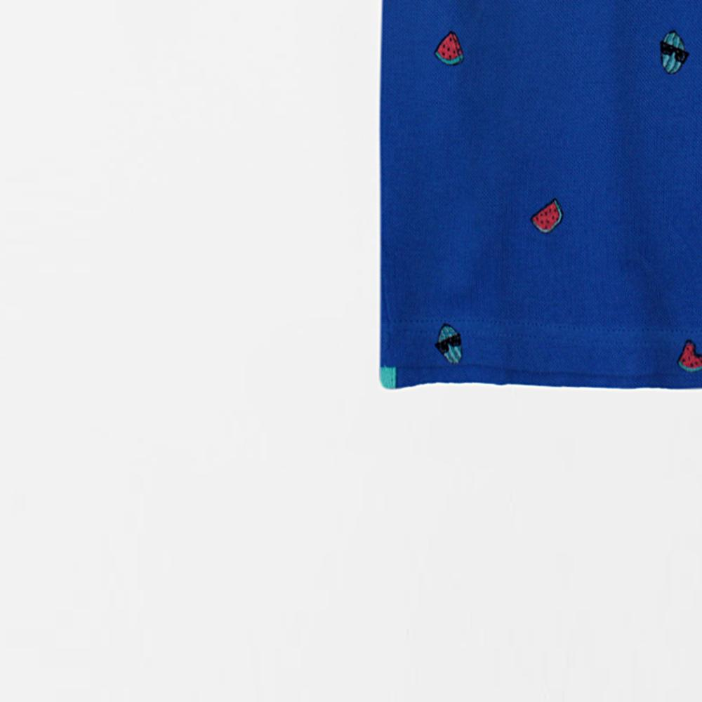 Boys blue printed short sleeve polo