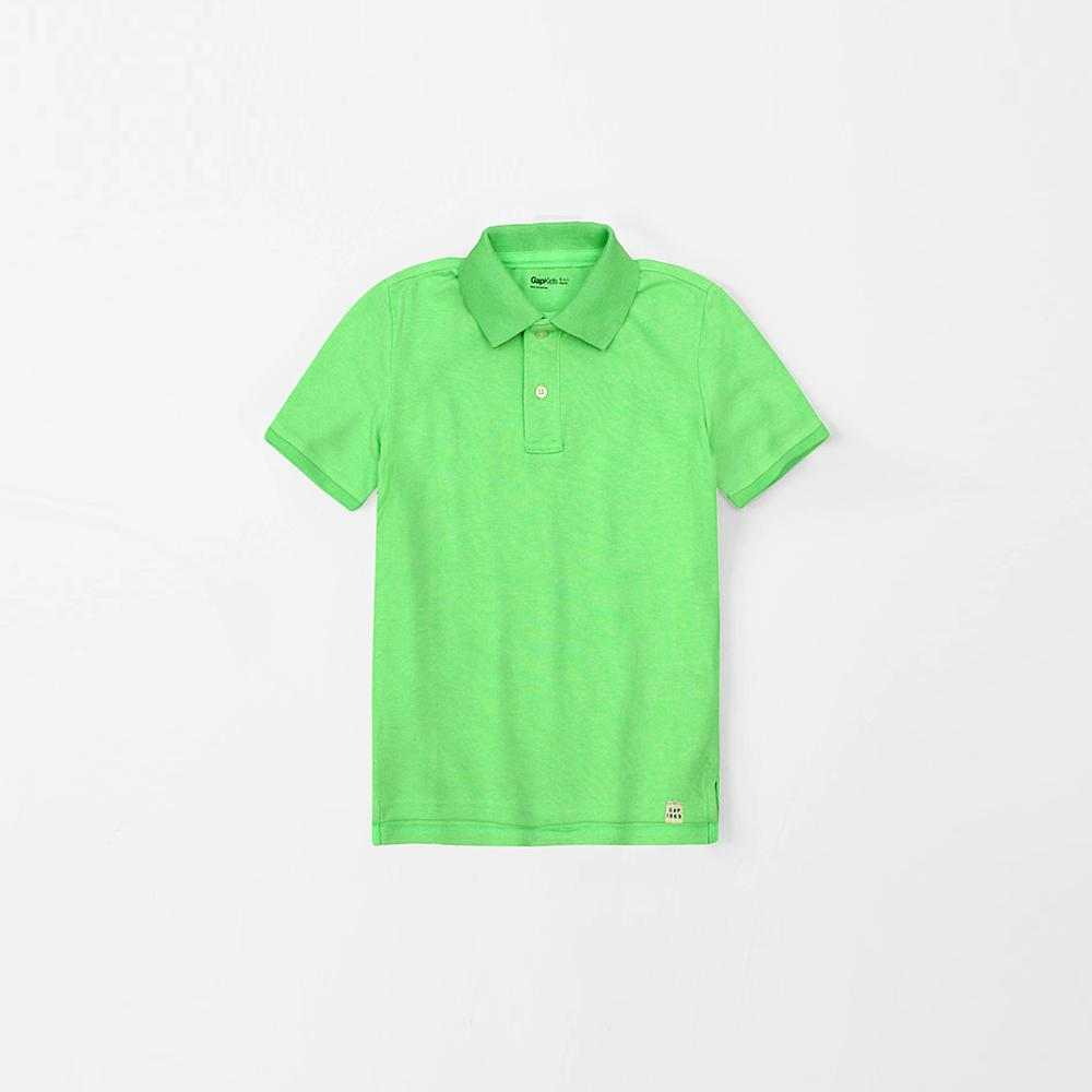 Boys bright green short sleeve polo (801)