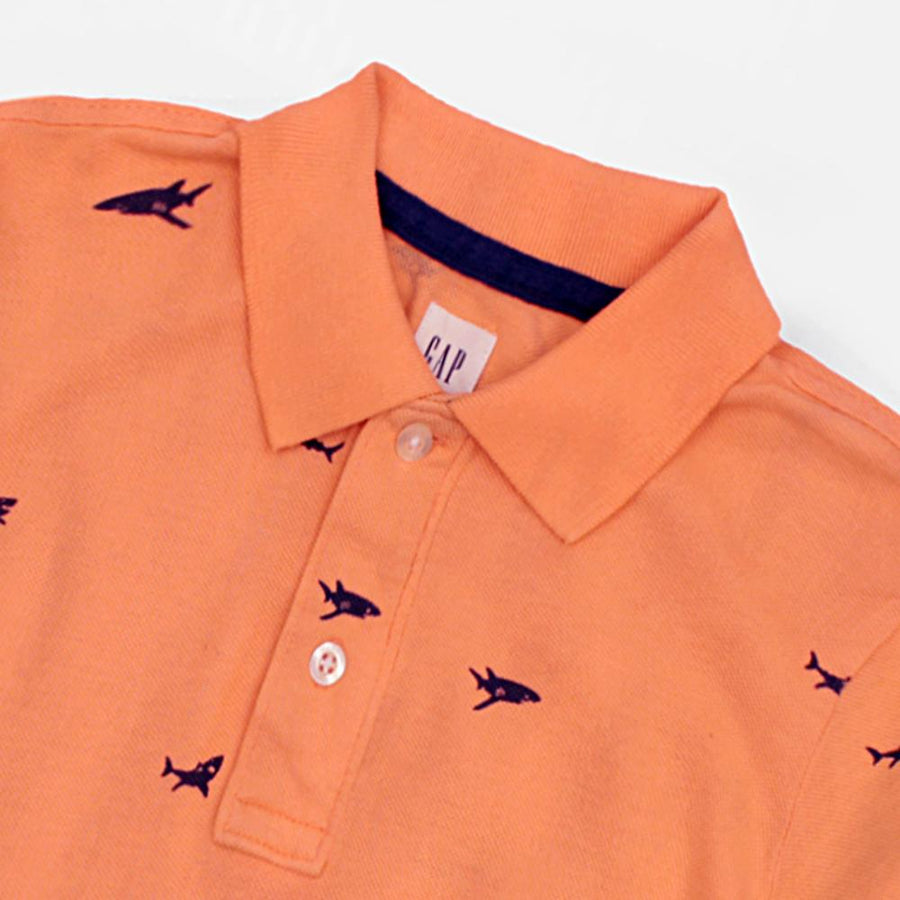 GAP-boys orange printed short sleeve polo