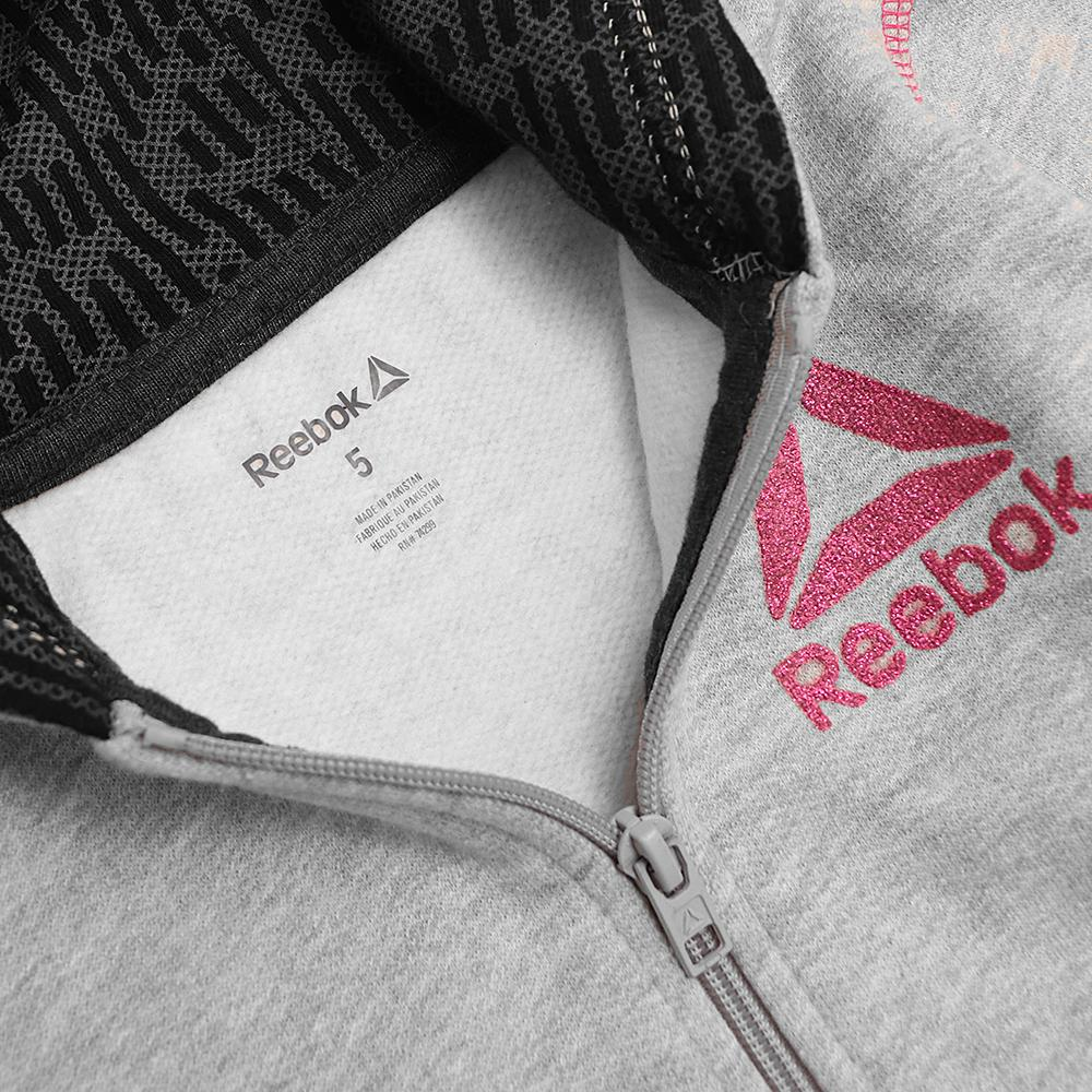 Rebk girls grey glittered logo zipper hoodie (1547)