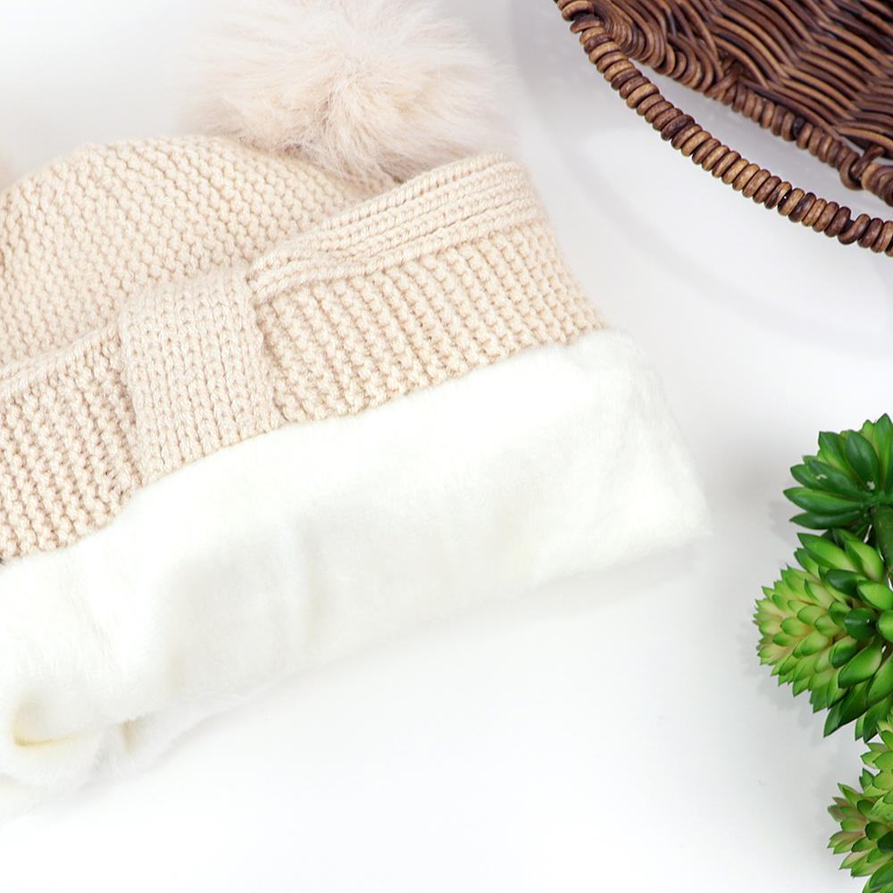 Kids Lovely Winter Warm Soft Knitted Cute Fur Ball Wool Cap (40002)