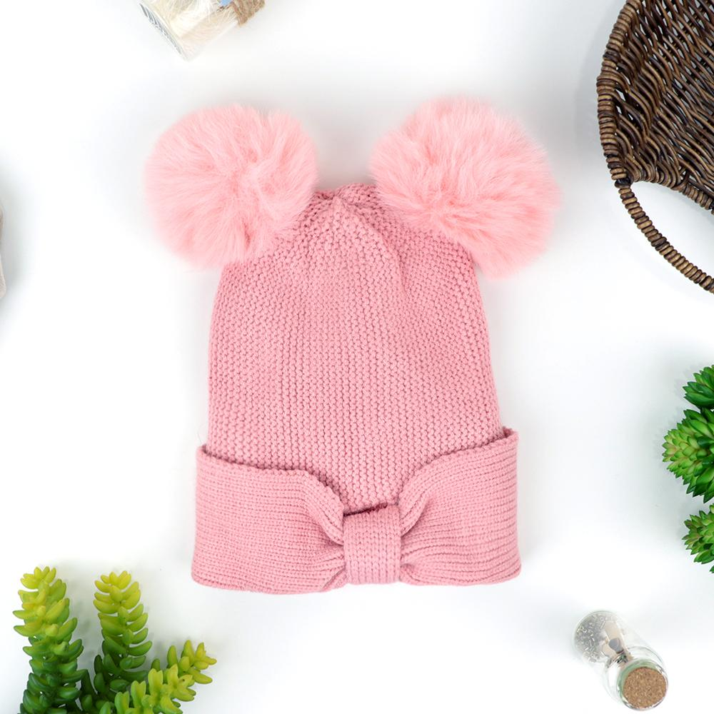 Kids Lovely Winter Warm Soft Knitted Cute Fur Ball Wool Cap  (40014)