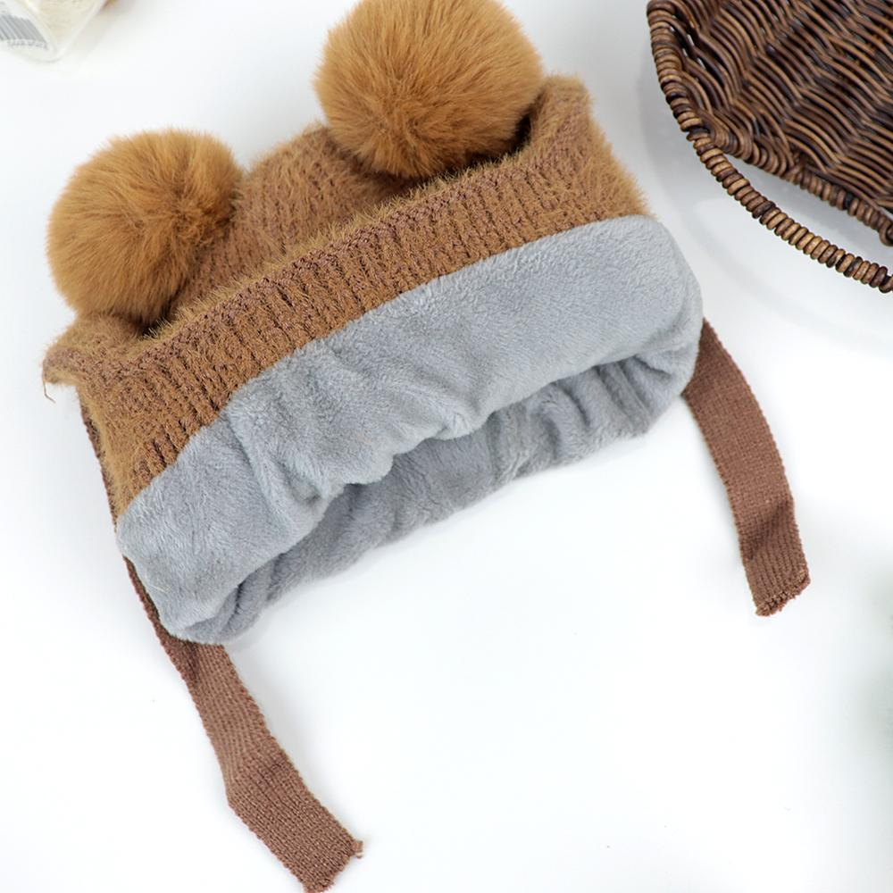 Kids Lovely Winter Warm Soft Knitted Woolen Fur Cap with Pom Pom (40006)