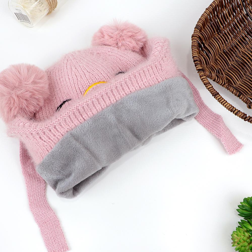 Kids Lovely Winter Warm Soft Knitted Woolen Fur Cap with Pom Pom (40003)