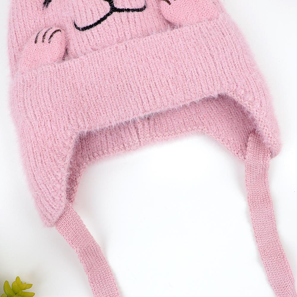 Kids Lovely Winter Warm Soft Knitted Woolen Fur Cap with Pom Pom (40015)