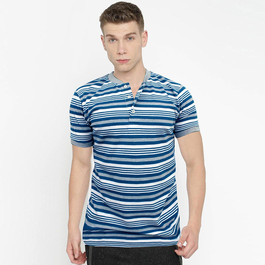 ZARA-mandarin collar 'slim fit' pique striper polo (847)