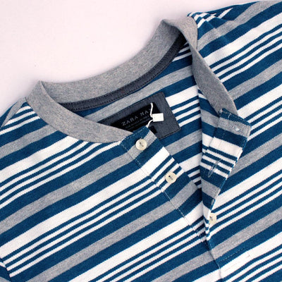 ZR-mandarin collar 'slim fit' pique striper polo (847)
