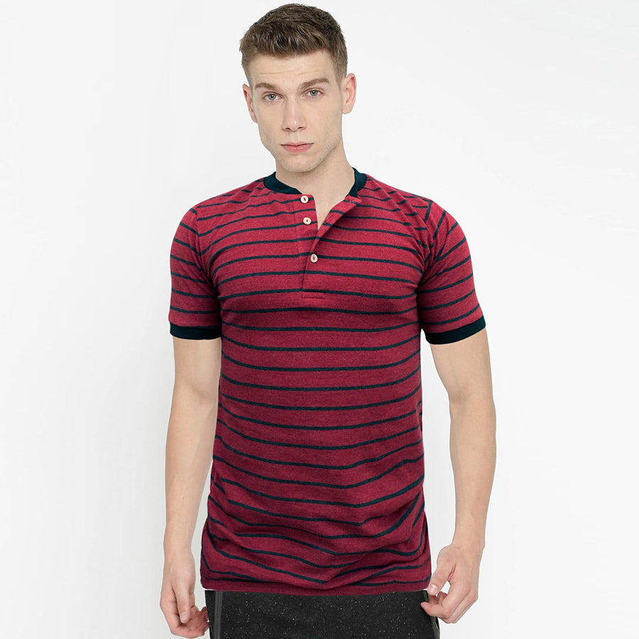 ZARA-mandarin collar 'slim fit' pique striper polo (850)