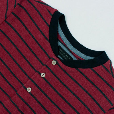 ZR-mandarin collar 'slim fit' pique striper polo (850)