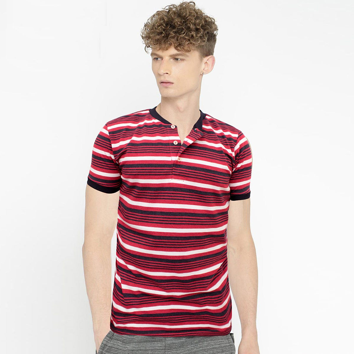 ZR-mandarin collar 'slim fit' pique striper polo (846)