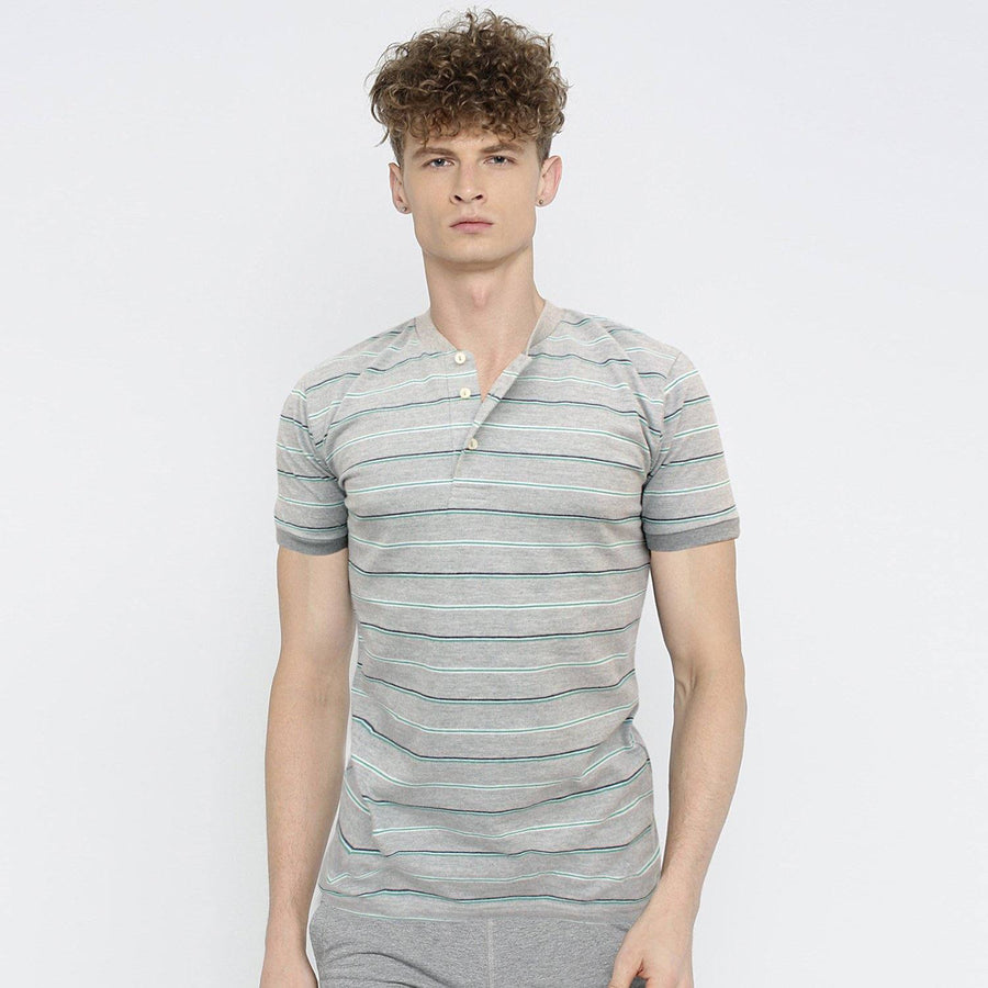 ZARA-mandarin collar 'slim fit' pique striper polo (848)