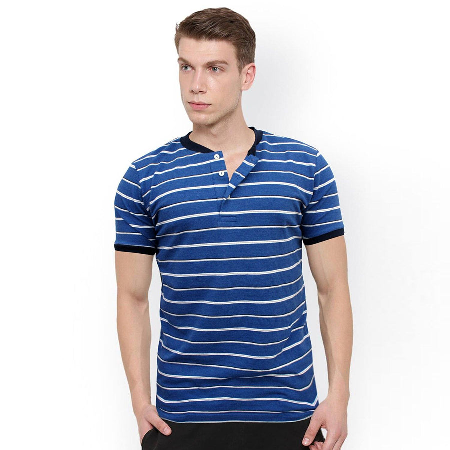 ZARA-mandarin collar 'slim fit' pique striper polo (849)