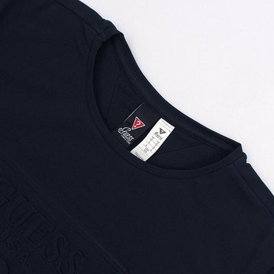 GUESS-navy 'slim fit' logo embossed t-shirt