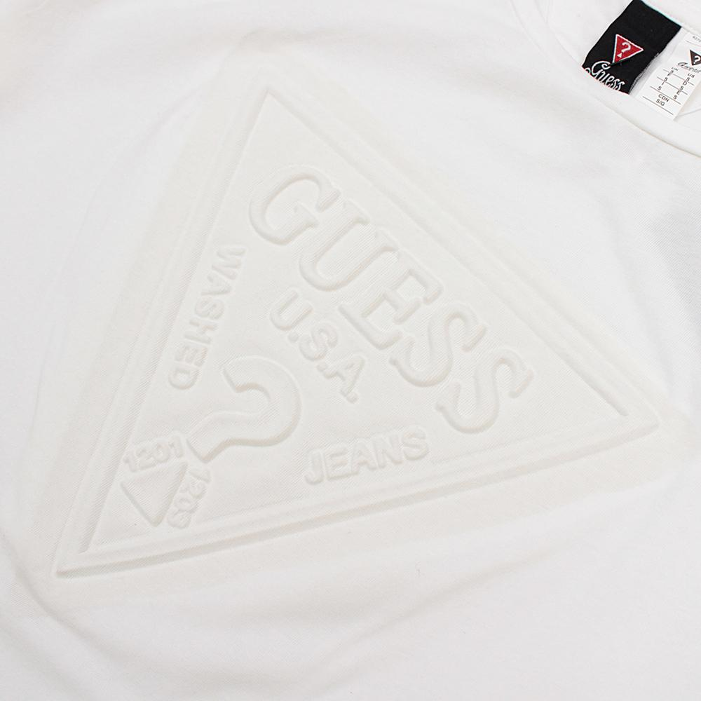 White 'slim fit' logo embossed t-shirt