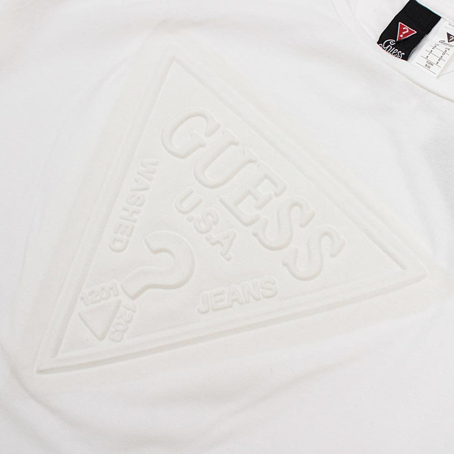 GUESS-white 'slim fit' logo embossed t-shirt