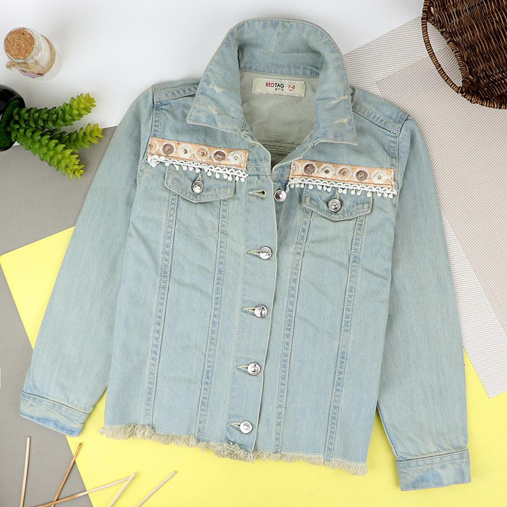 Girls Stylish Denim Jacket With Elegant Embroidery (30259)