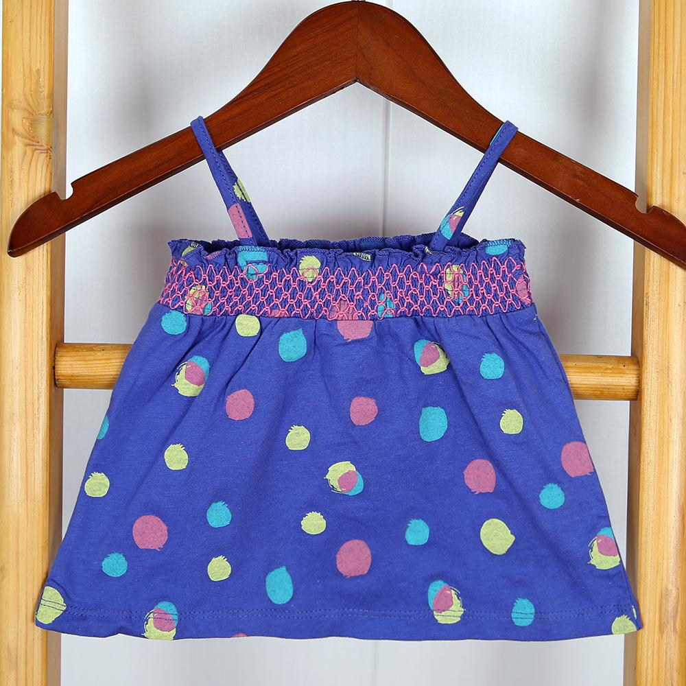 Girls Imported All-Over Polka Dot Printed Soft Cotton Embroided Top (21086)