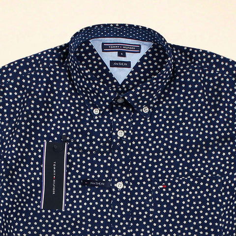 TOMMY HILFIGER-exclusive navy star printed button down shirt