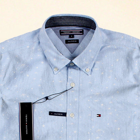 TOMMY HILFIGER-exclusive star printed button down chambray shirt