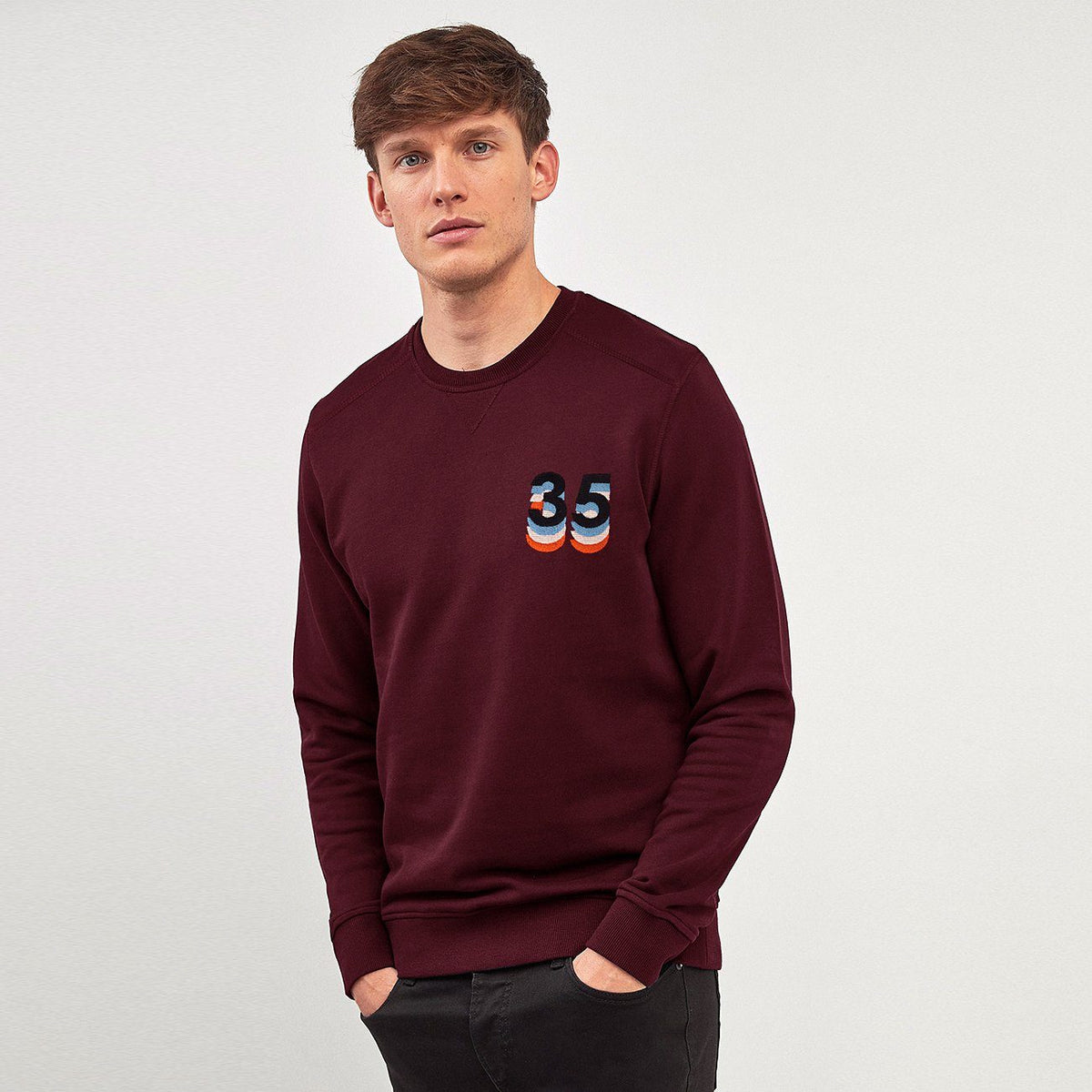 Men Premium Heavy Fleece V-Notch 3D Embroidered Sweatshirt (30264)