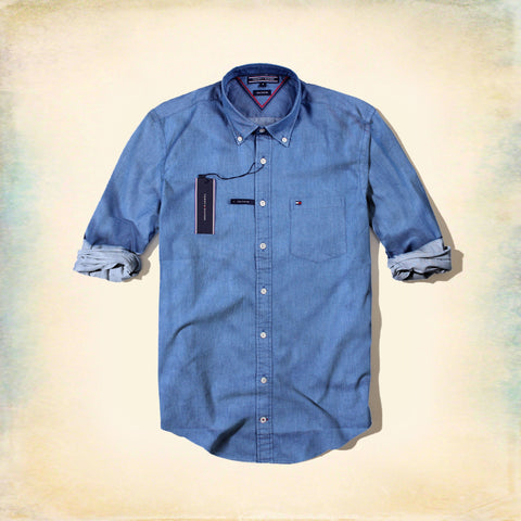 TOMMY HILFIGER-exclusive blue button down chambray shirt