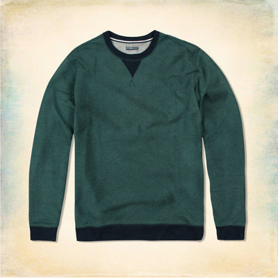 BASIC EDITIONS-green contast rib sweatshirt