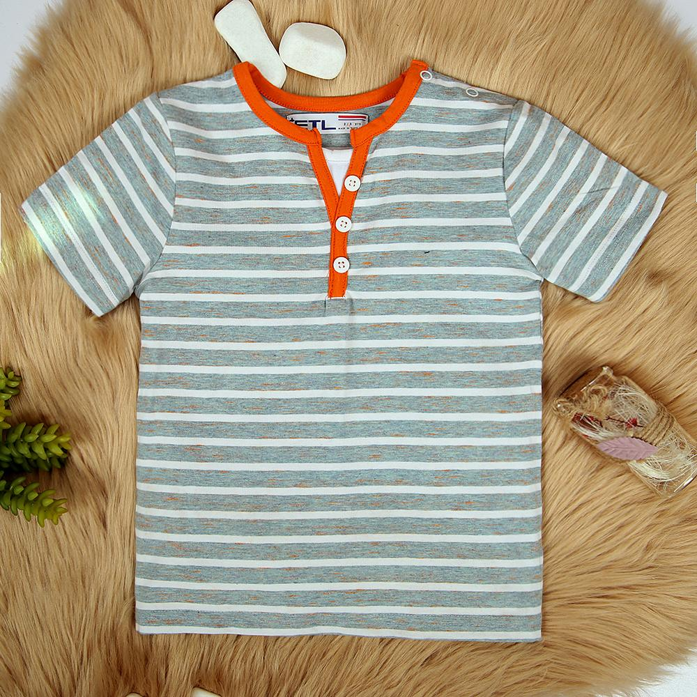 Imported V-Notched T-Shirt For Boys With Shoulder Snap Button (21125)