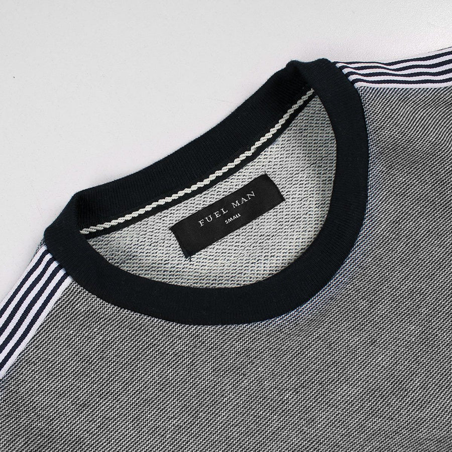 FUEL MAN-textured weave white ribbon 'slim fit' sweatshirt