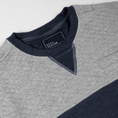 DEEP SELECTION-blue grey color block quilted sweatshirt