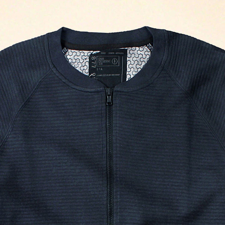 DISSIDENT-navy quilted baseball jacket