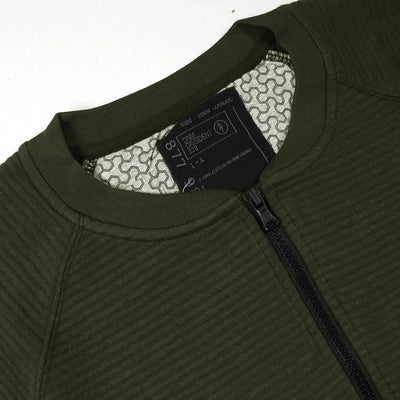DISSIDENT-olive quilted baseball jacket