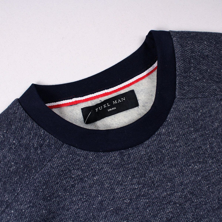 FUEL MAN-blue sweatshirt with contrast sleeve rib