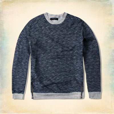 FUEL MAN-blue melange sweatshirt with side zips