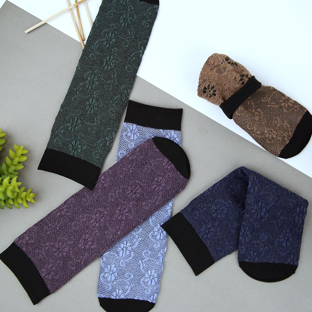 Women Pack of 5 Thickening Jacquard Weave Soft Premium Quality Socks (41001)
