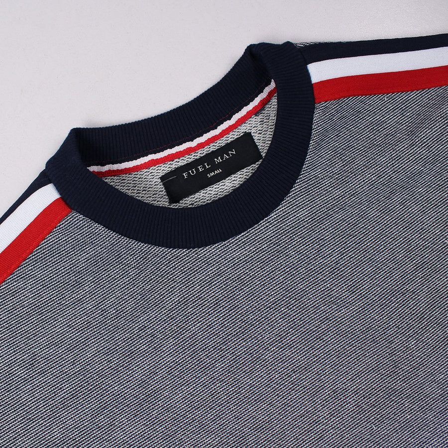 FUEL MAN-textured weave red ribbon sweatshirt