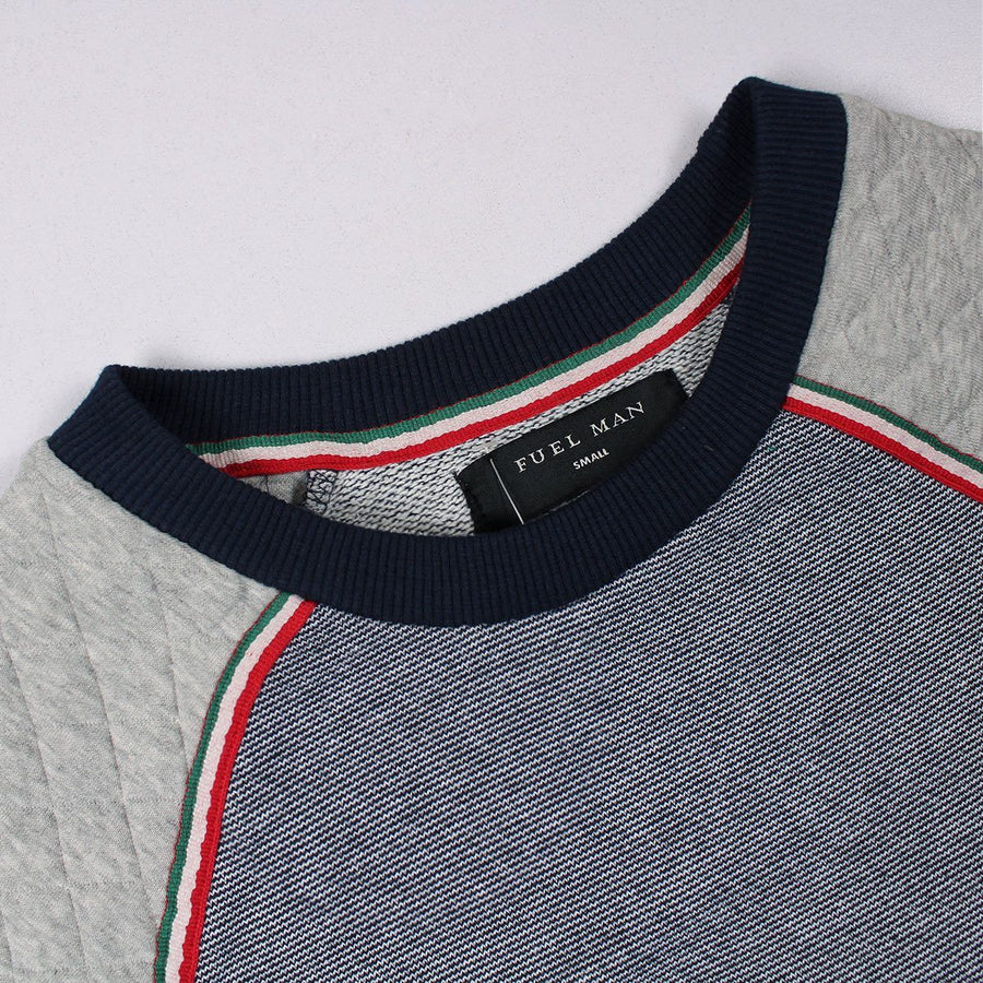 FUEL MAN-textured weave contrast sleeve quilted sweatshirt
