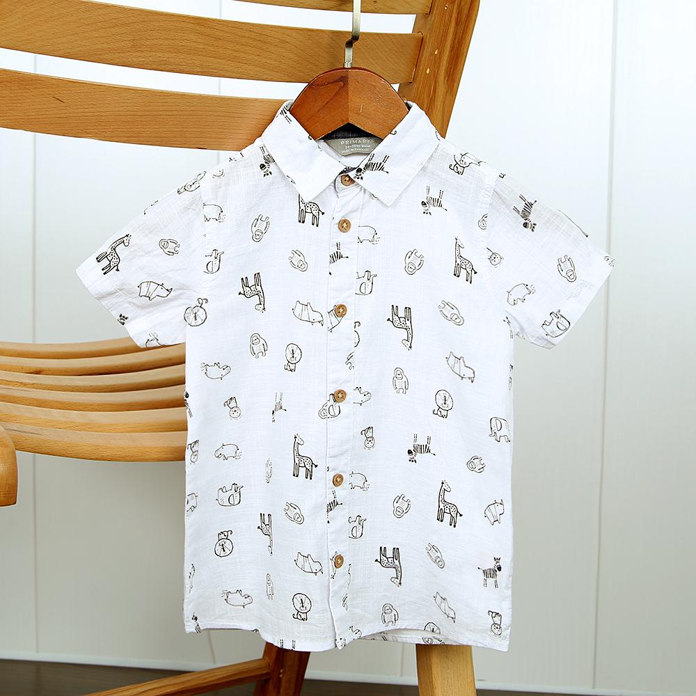 Boys Imported All-Over Animal Printed Soft Cotton Casual Shirt (21116)