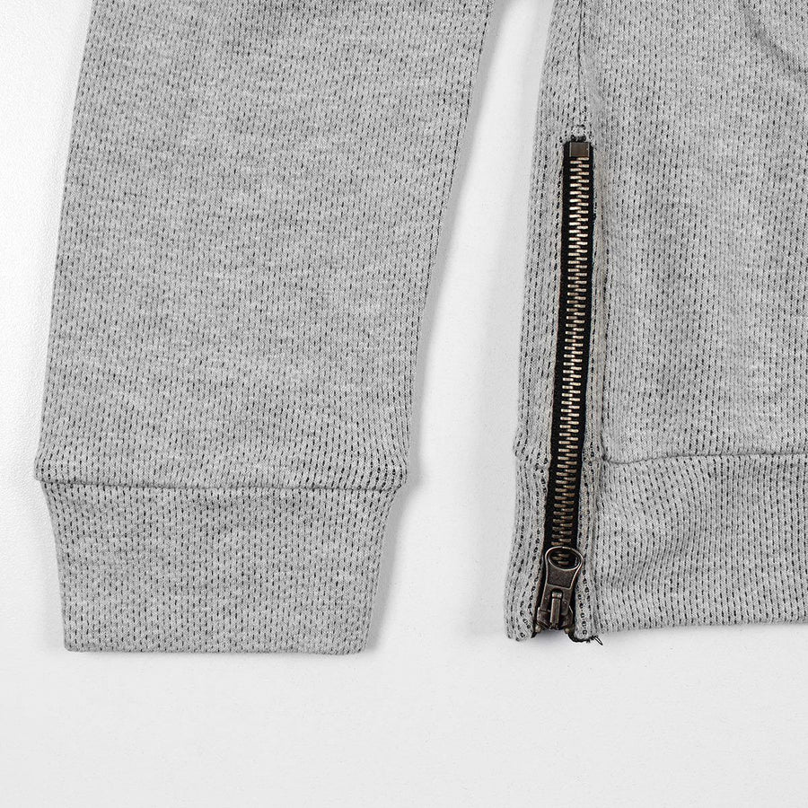 FUEL MAN-grey thermal sweatshirt with side zips