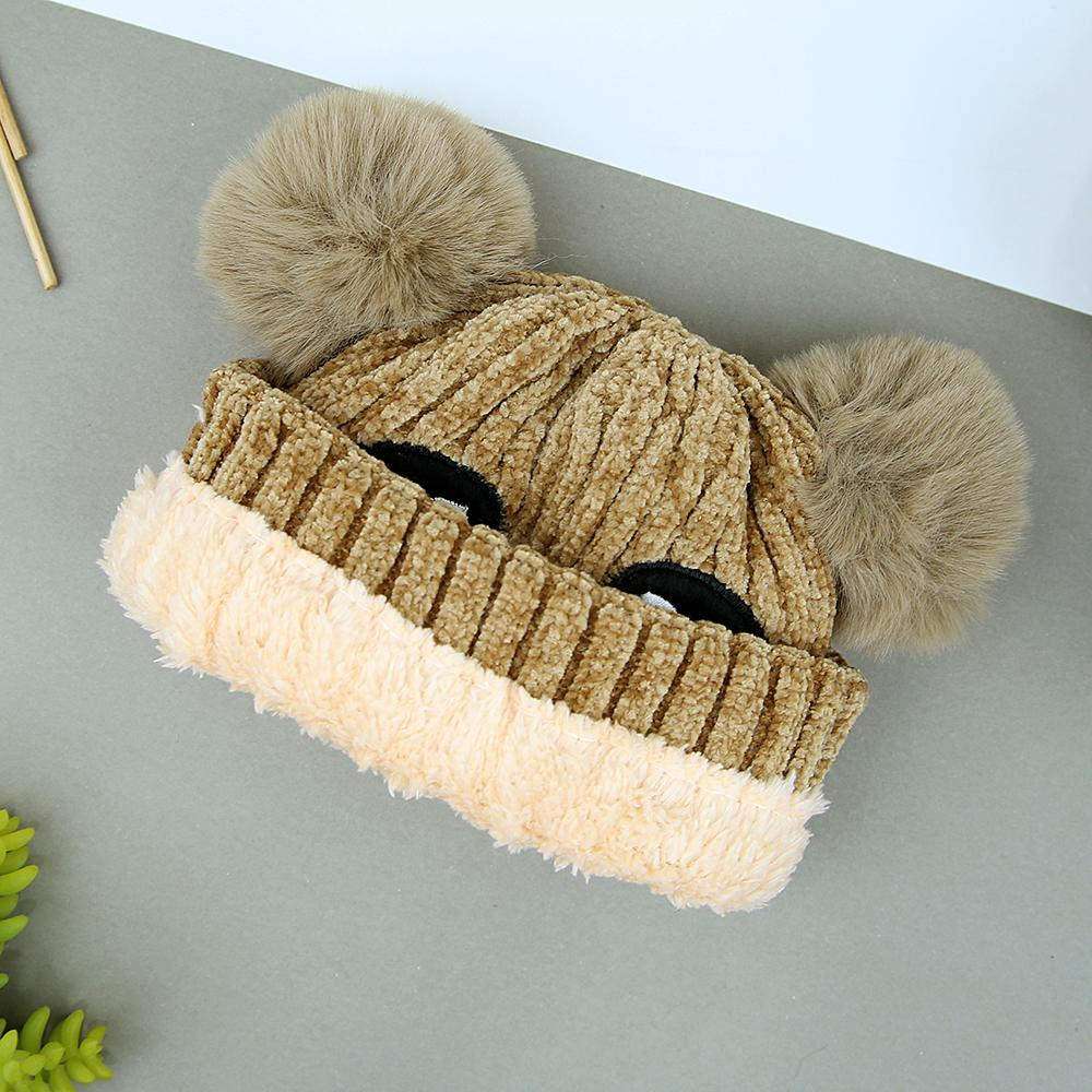 Kids Premium Quality Soft Fur Lined Cartoon Embroidered Velvet Look Stretch Caps