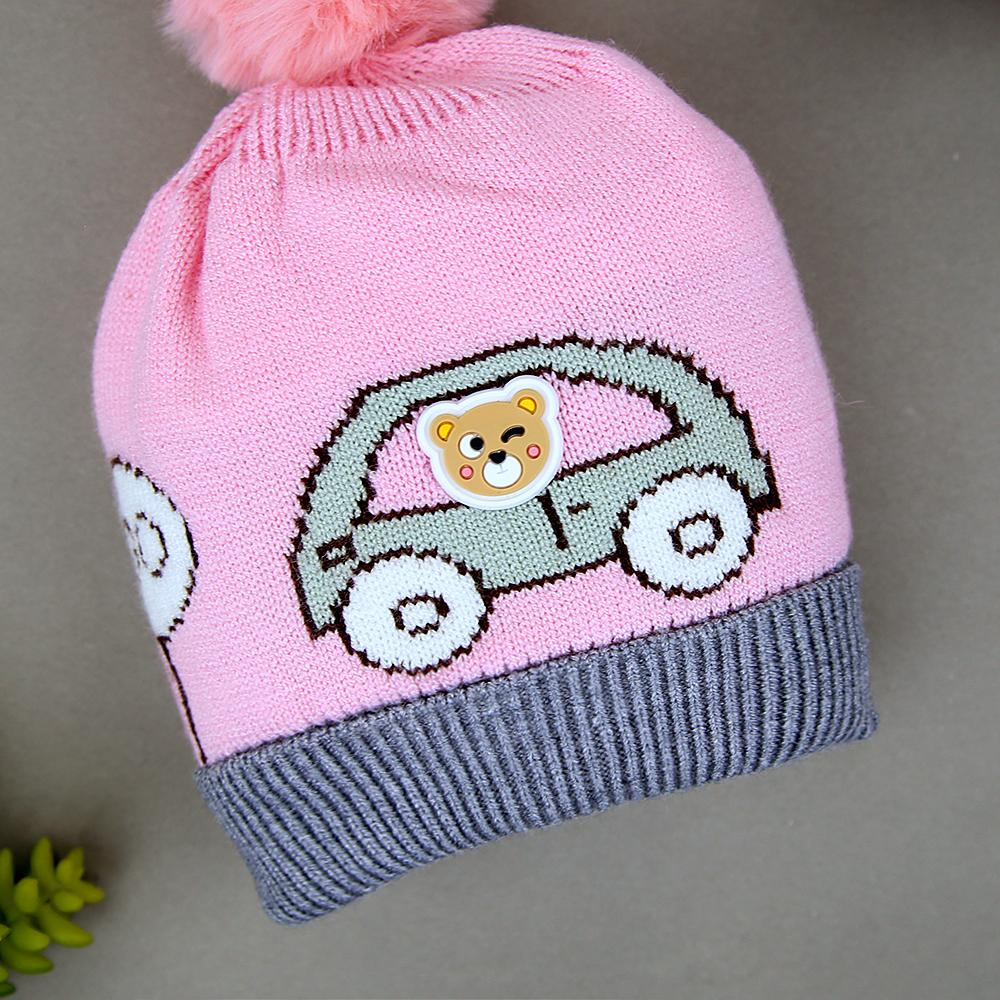 Baby Soft Lined Premium Quality Car Printed Wool Look Stretch Caps