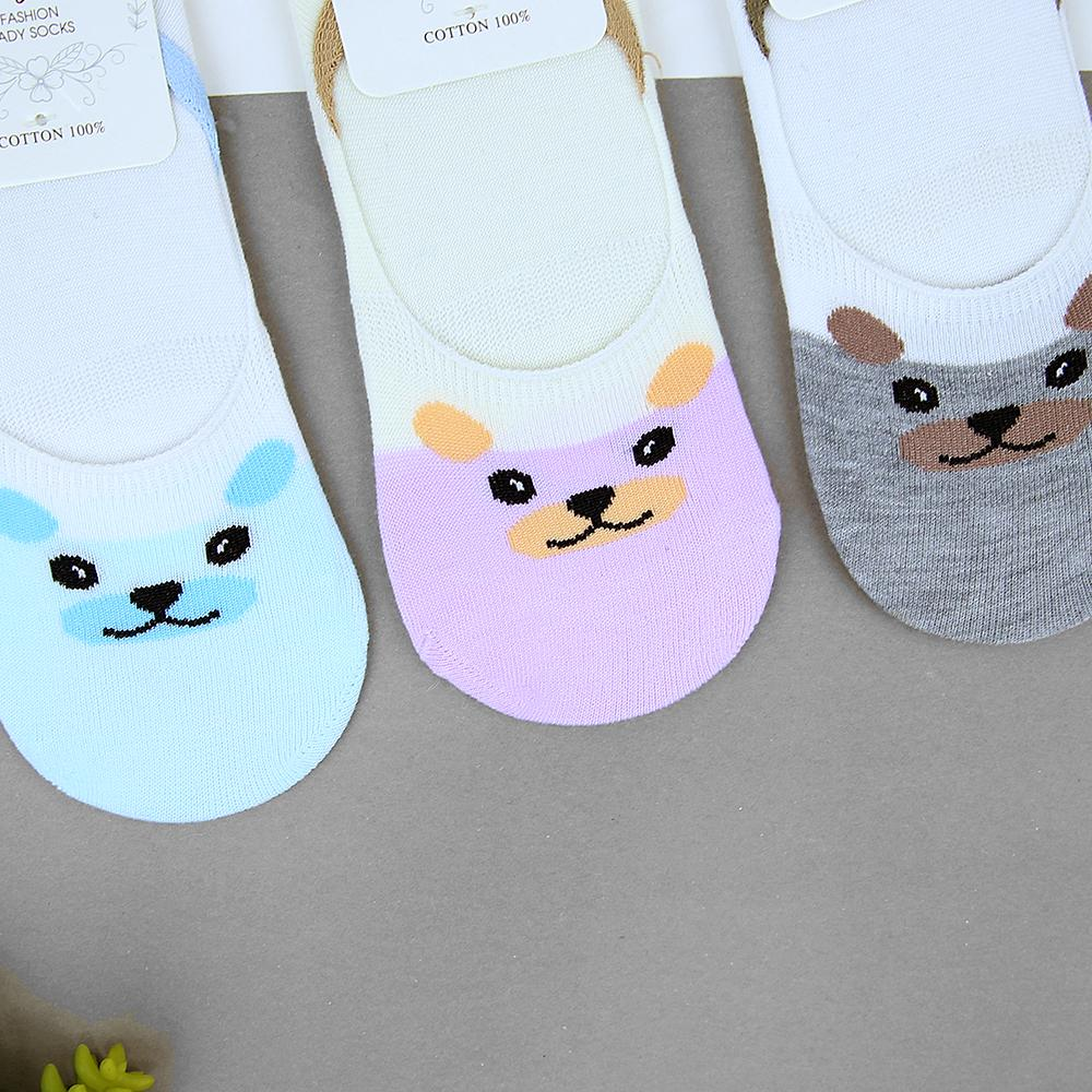 Women Pack of 3 Cat Printed No Show Socks (41002)