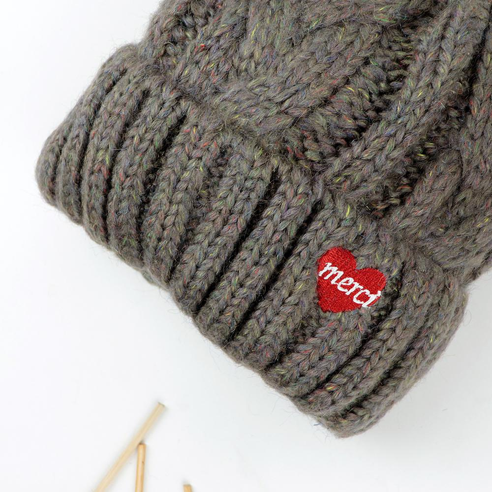 Stylish Soft Knitted Wool Style Embroidered Winter Caps