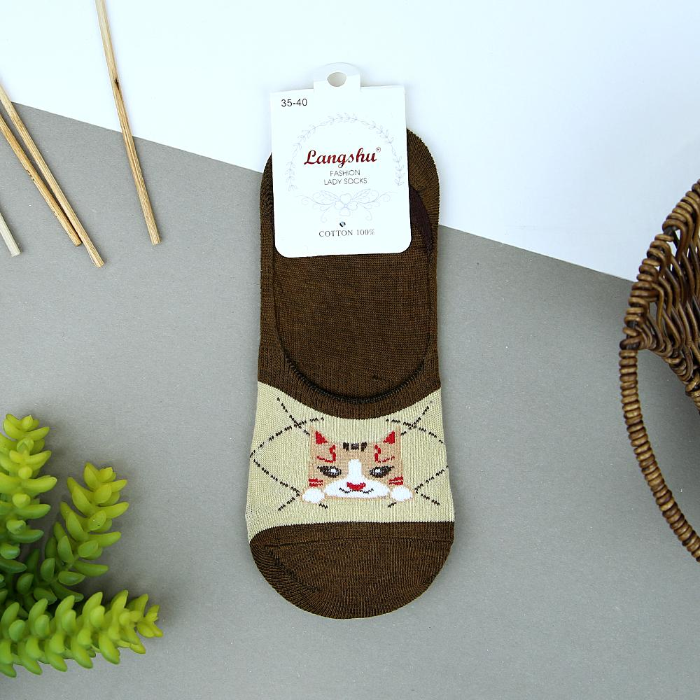 Women Pack of 3 Cat Printed No Show Socks (41004)