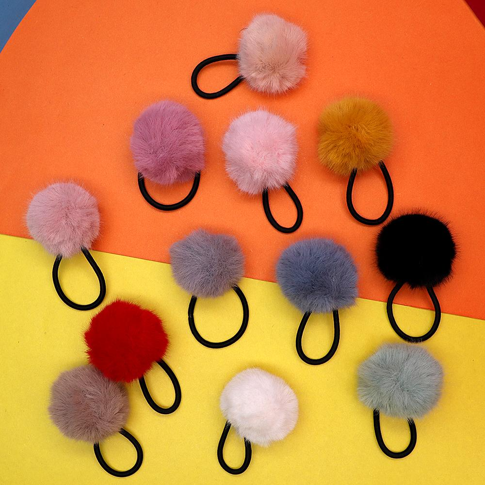 Girls furry ball pompom pony