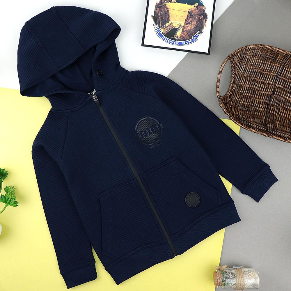 Kids Navy Plush Quilted Zipper Hoodie with Patch (30092)