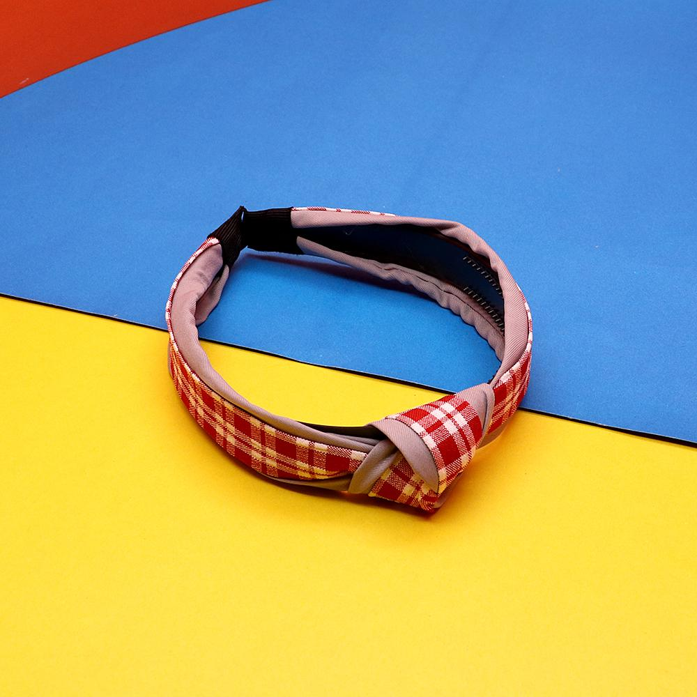Elegant top knot plaid check hairband