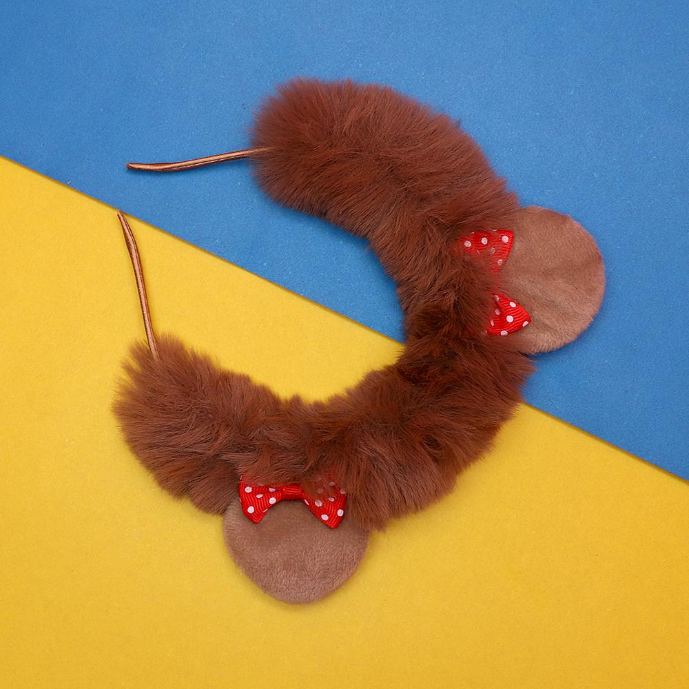 Girls fur hair band with bow