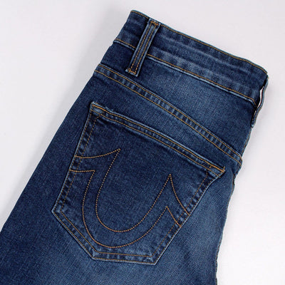 TRUE RELIGION-exclusive leo 'slim fit' stretch low rise jeans