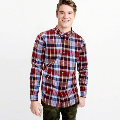 RALPH LAUREN-exclusive red&sky check button down shirt