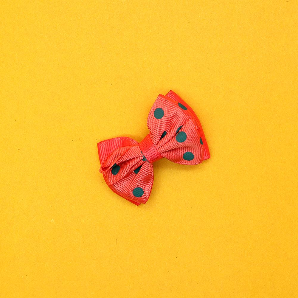 Girls canvas polka dot double bow hair alligator pin